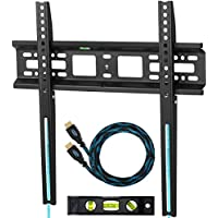 "Cheetah Mounts APFMSB TV Wall Mount Bracket for 20-55"" TVs Up To VESA 400 and 115 lbs including a Twisted Veins 10' HDMI Cable and a 6 3-Axis Magnetic Bubble Level"