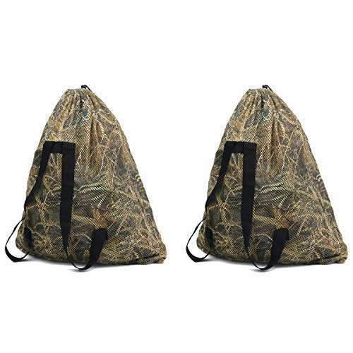 Auscamotek Duck Decoys Bags Mesh with Duck Hunting Blinds Pattern -2 Pack Goose Decoy Backpack -Large Size