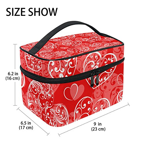 U LIFE Valentines Day Birthday Red Heart Love You Summer Spring Wedding Travel Cosmetic Makeup Toiletry Storage Bags Boxes Cases Organizers by ALAZA