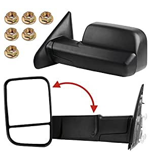 YITAMOTOR Towing Mirrors for 02-08 Dodge Ram 1500 2003-2009 Ram 2500 3500 Pickup LH & RH Manual Fli-Up Power Heated Side Mirrors