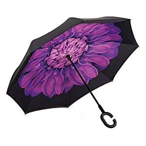 Aweoods Inverted Umbrella Windproof Reverse Folding Double Layer Travel Umbrella with C Shape Handle (Balck Purple)