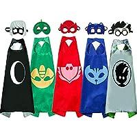 Fun Factorys Superhero Masks Costumes Dress up Kids - Superhero Catboy Owlette Gekko Capes Masks 5 PCS