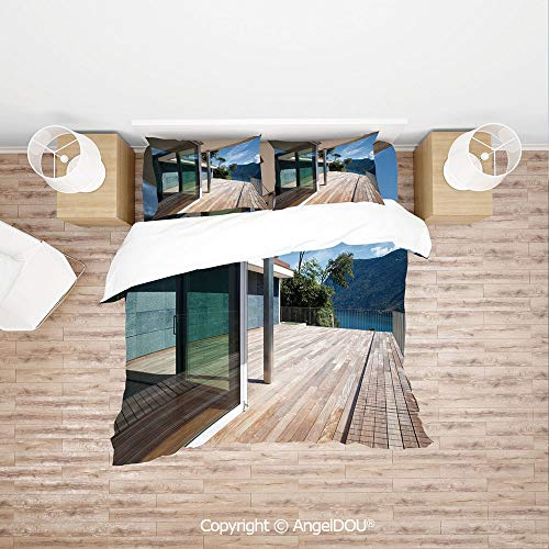 Mountain Horse Diamond Fleece - PUTIEN Soft Microfiber Duvet Cover Set (1 Duvet Cover+ 1 Sheet +2 Pillow Cases) Bedding Set,Summer House Patio Terrace Veranda Lake Mountain Trees Image,with Hidden Zipper Closure.