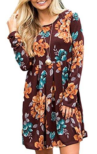 Jaycargogo Femmes Tunique Floral Manches Longues Robe Midi Millésime 2