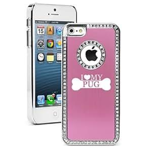 "Apple iPhone 6 (4.7"") Rhinestone Crystal Bling Hard Case Cover I Love My Pug (Pink)"