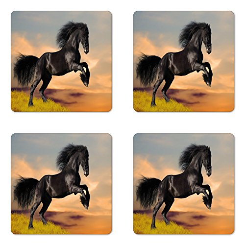 - Lunarable Horse Coaster Set of Four, Western Wildlife Theme Friesian Horse Galloping Idyllic Sunset Scenery Pasture Nature, Square Hardboard Gloss Coasters for Drinks, Multicolor