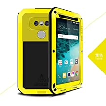 LG G4 Case - CGJY Heavy Duty Aluminum Metal Double mixed Bumper ShockProof WaterProof DustProof with Gorilla Glass Case Cover for LG G4 Yellow