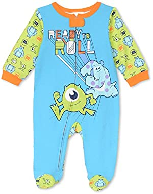 Disney Baby Boys' Monster Inc. Zip up Footie