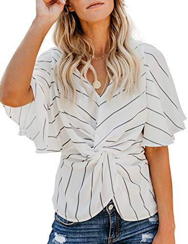 (CICIDES Womens Spring Ladies Chiffon Summer Batwing Short Sleeve V Neck Line Stripes Loose Twist Blouse Fashion Tops and T Shirts White US4-6 Small)