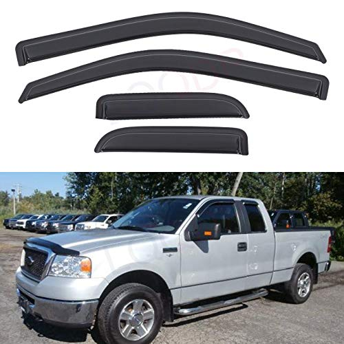 - LQQDP Set of 4 Front+Rear Smoke Sun/Rain Guard Outside Mount Tape-On Acrylic Window Visors For 04-14 Ford F-150 Super/Extended Cab With Half Size Suicide Back Doors