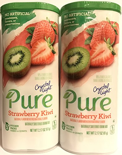 Crystal Light Pure Drink Mix - Strawberry Kiwi Flavor - 5 Count Pitcher Packs Per Container - Pack of 2 Containers