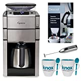 Capresso CoffeeTEAM PRO Plus with Thermal Carafe Coffee Maker with Knox Milk Frother, Knox Mug w/ Spook (2-pk) and Urnex Dezcal Descaling Powder