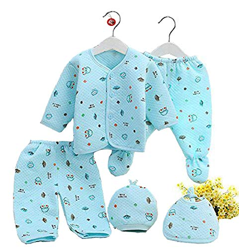 GURU KRIPA Baby Products Presents New Born Baby Winter Wear Keep Warm Cartoon Printing Baby Clothes 5Pcs Sets Baby Boys Girls Unisex Baby Fleece/Falalen Suit Infant Clothes