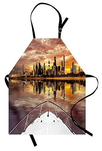 Pictures Kuwaits Costumes Male And Female - Ambesonne Travel Apron, Kuwait City Skyline