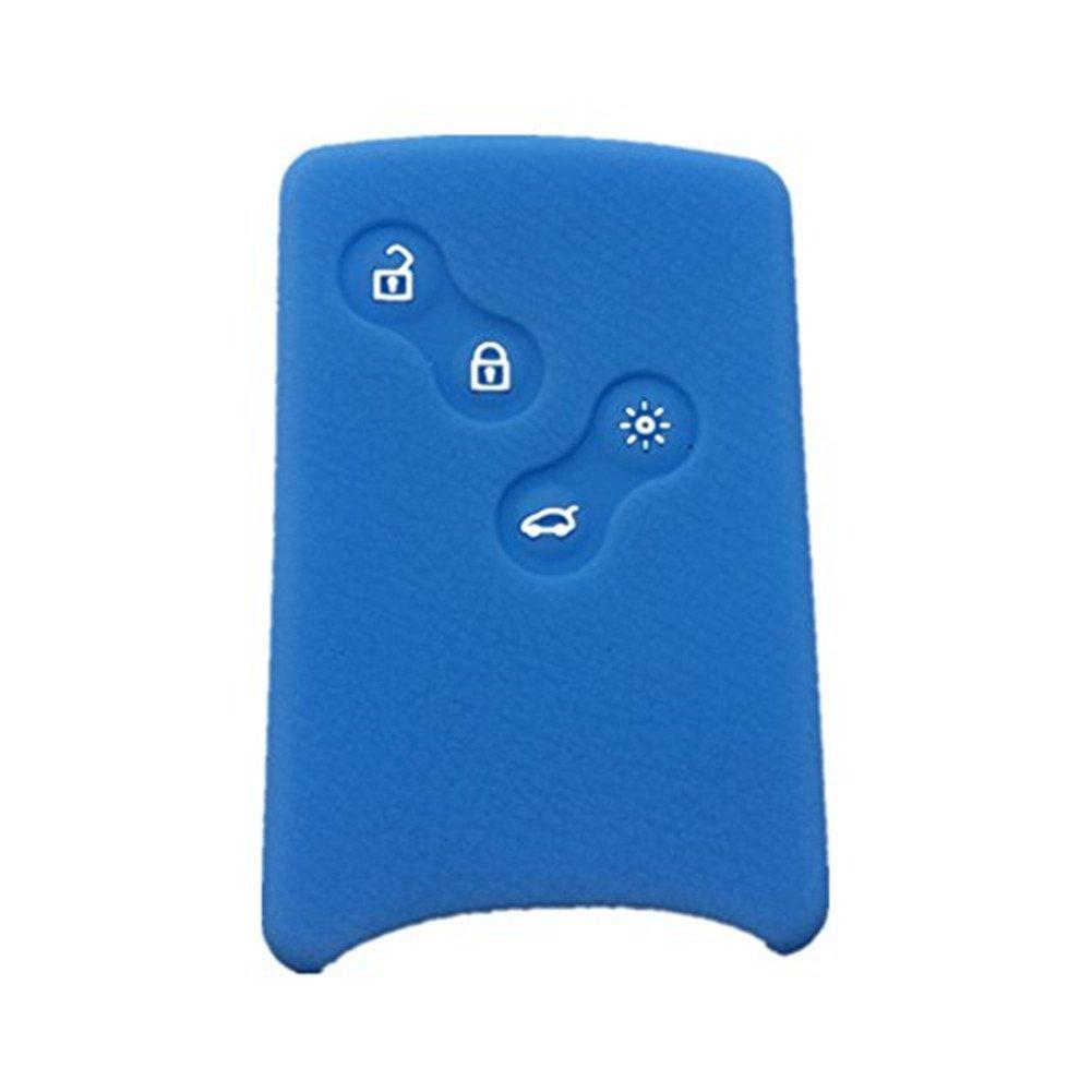 Azul marino Happyit 4 Botones Silicona Cubierta Dominante de la Caja del Coche para Renault Clio Scenic Megane Plumero Sandero Captur Twingo koleos Control Remoto