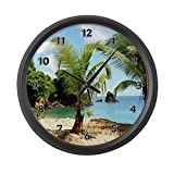Cheap CafePress – Tropical Beach – Large 17″ Round Wall Clock, Unique Decorative Clock