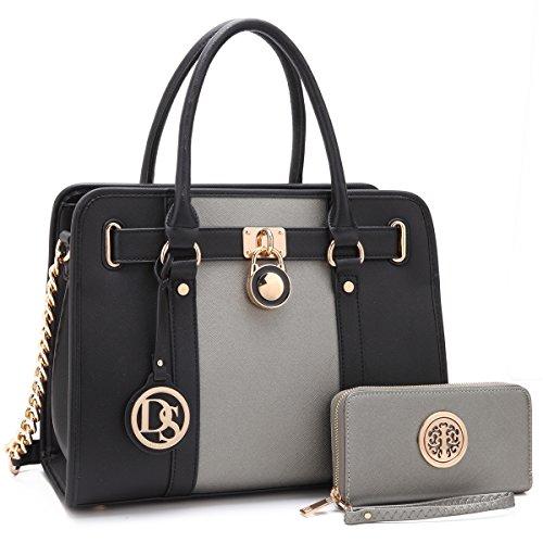 Strap Handbag Bag Padlock Matching Dasein Satchel Crosshatch Top Texture W silver Two Wallet 2 Designer Shoulder Toned Handle chain Women's Purse black wqft6S