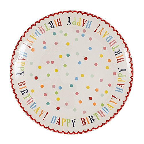 Happy Birthday Stoneware Cake Plate