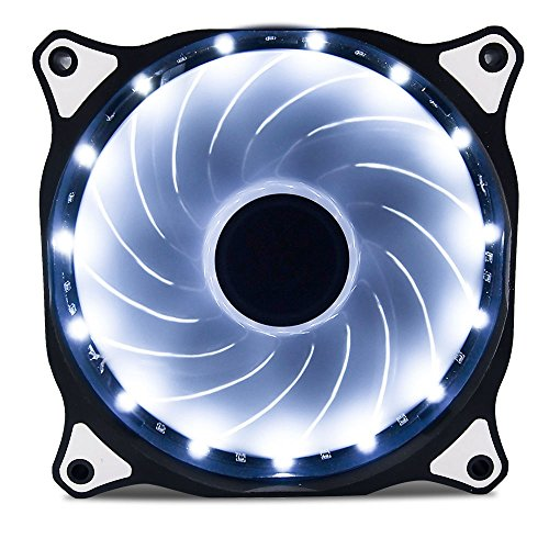 Vetroo 120mm White 15-LEDs Cooling Fan for Computer PC Cases