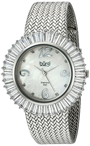 Baguette Crystal Dress Watch - Burgi Women's BUR076WT Mother-Of-Pearl Diamond and Baguette Bracelet Watch