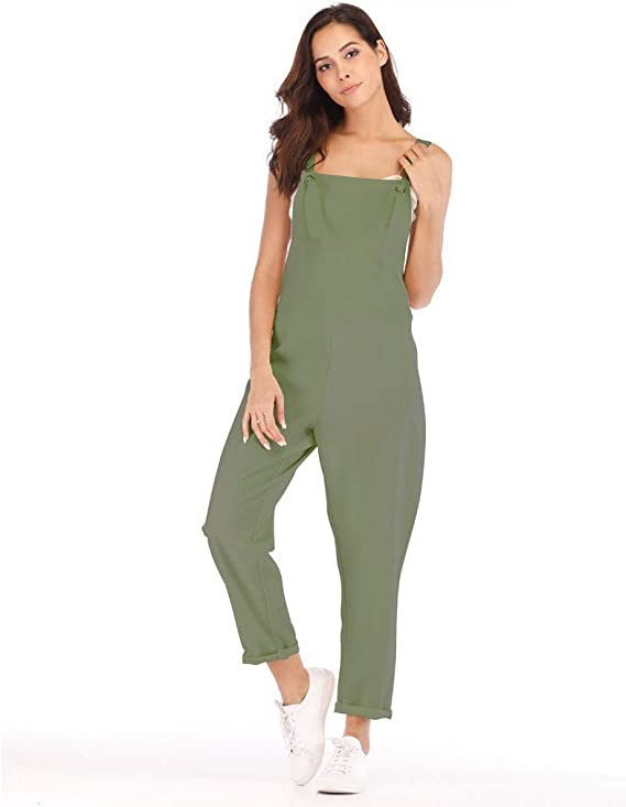 Qunanen Women Casual Sleeveless Pockets Linen Rompers Long Playsuit Party Jumpsuits Amazon Ca Clothing Accessories