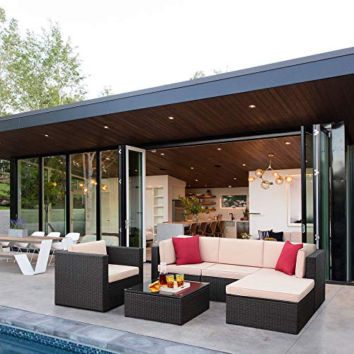 6 Pieces Outdoor Patio Sectional Furniture Set, All-Weather Modern Manual PE Rattan Wicker Conversation Sets with Cushions and Glass Table for Lawn, Backyard, Poolside (Brown)
