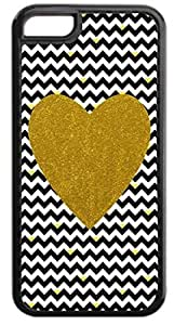 Black and White Chevrons with Hearts-Gold Print Heart - Case for the APPLE IPHONE 4, 4s-Hard Black Plastic Outer Case with Tough Black Rubber Lining