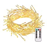 B-right Cluster Fairy Lights Battery Powered,10ft 200 LEDs String Lights with Remote Control, Soft White LED String Lights for Christmas Bedroom Garden Patio