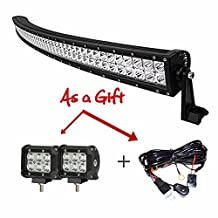 "Simplive® 32"" Inch 180W 10-30V Curved LED Light Bar Waterproof Flood Spot Combo Beam for Offroad SUV UTE ATV Truck with FREE 2PCS 18W LED work lights and Wiring Harness and Mounts"