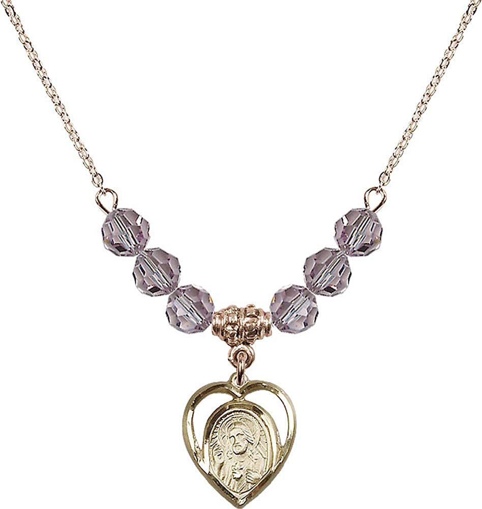 18-Inch Hamilton Gold Plated Necklace with 6mm Light Amethyst Birthstone Beads and Scapular Charm Purple Light Amethyst June Birthstone