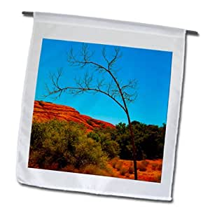 Jos Fauxtographee Realistic - A Lone Tree in snow Canyon State Park, Utah with Red Rock Hill and Green Bushes - 12 x 18 inch Garden Flag (fl_56502_1)