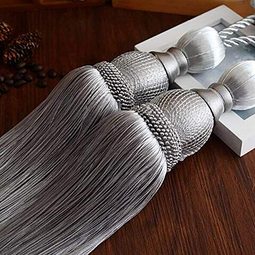 Selling Wonderful Curtain Holdbacks Curtains Tiebacks Home Decorative Braided Buckle Fastener Accessories Window Drapery Ball Tassels Tiebacks, Set of 2 (Silver Grey) (Tassel Back Decorative Tie)