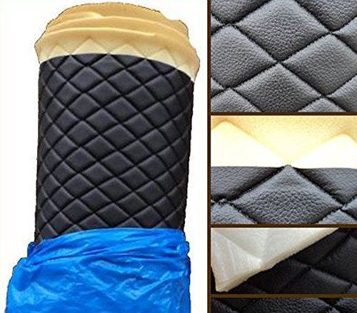 Vinyl Fabric QUILTED BLACK FOAM BACKING Upholstery / 3/8