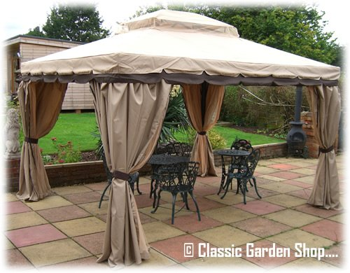 Luxury Granborough Garden Gazebo 3m X With Privacy Curtains And Side Mosquito Nets Amazoncouk Outdoors