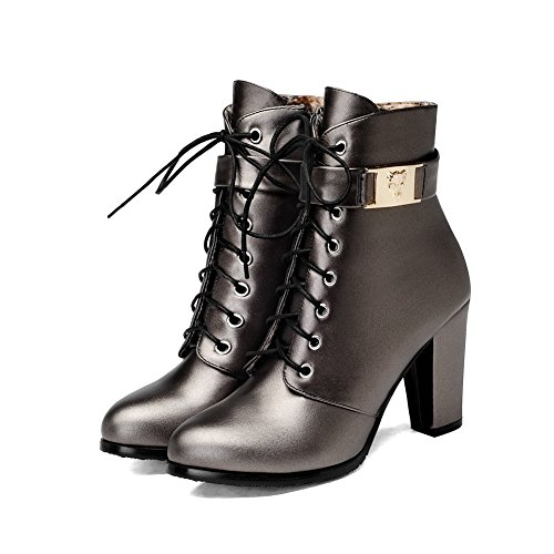 AgooLar Women's Round Closed Toe Low-top High-Heels Solid PU Boots Gray HLuHgVfFi