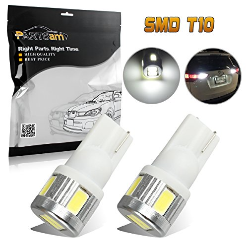Partsam 2pcs T10 T15 921 168 Backup Reverse Light Lamps Pure White 6000k High Power License Plate Light 5730SMD Led Bulbs Ultra ()
