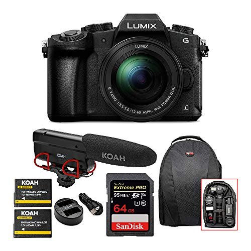 Panasonic LUMIX G85 Mirrorless Camera with 12-60mm Lens, Koah Microphone, 64GB SD Card, Battery and Dual Charger and Video Backpack Bundle (5 Items)