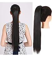 SARLA Straight Black Ponytail Hair Extension 24 Inch Long Wrap Around Drawstring Ponytail Clip in...
