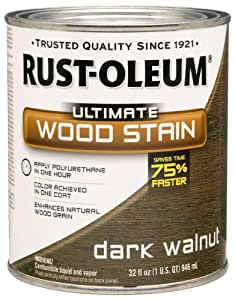 Rust-Oleum 260147 Ultimate Wood Stain, Quart, Dark Walnut
