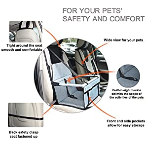 WOpet Deluxe Portable Pet Dog Booster Car Seat with Clip-On Safety Leash and Zipper Storage Pocket– Perfect for Small and Medium Pets up to 30 lbs (Grey)