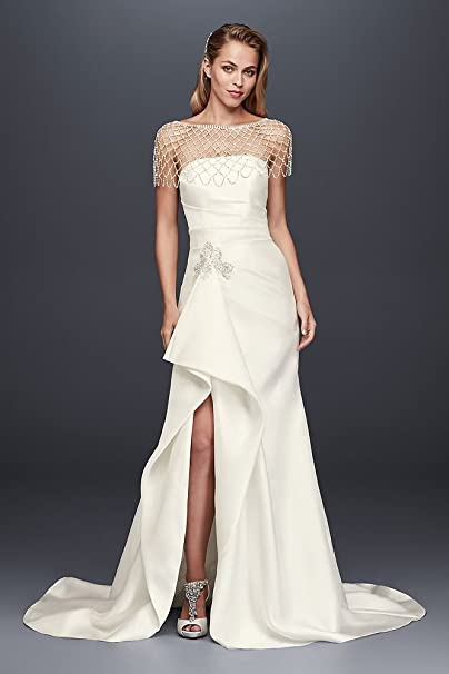 b60b04af916 David s Bridal Mikado Sheath Wedding Dress with Slit Skirt Style SWG788 at Amazon  Women s Clothing store