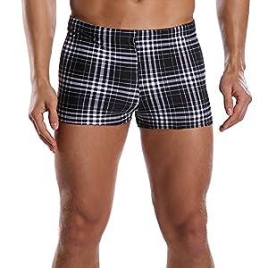 beautyin Men's Swim Trunks Jammer Swimsuit Boxer Short Plaid Square Leg Swimwear