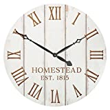 Homestead Est 1815 White Weathered 32.5 Inch Wood Carved Country Wall Clock