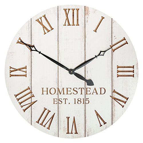 Homestead Est 1815 White Weathered 32.5 Inch Wood Carved Country Wall Clock by P Graham Dunn