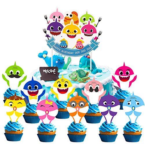 Ticiaga Baby Shark Birthday Cake Topper, Doo Doo Shark Happy Birthday Cake Topper & 30pcs Shark Family Cupcake Toppers, Cute Doo Doo Party Supplies for Kids Birthday Party Decoration with Card Board]()