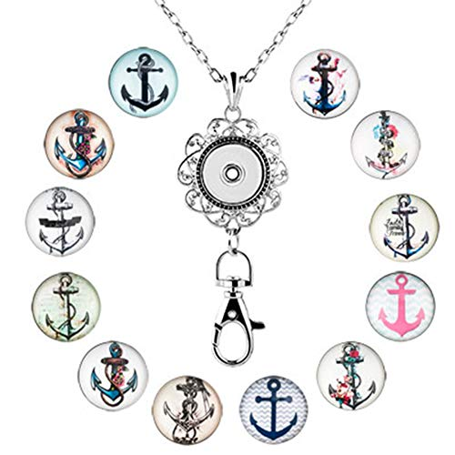 JewelryHouse Lanyard Office ID Badge Holder Locket Necklace 12pcs Snap Button Charm (Make Button Necklace)