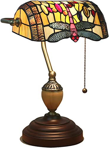Creative Dragonfly Tiffany Style Table lamp, E26 Traditional Banker lamp Baroque Desk lamp Glass Bedside lamp Wood Pull Switch-Dragonfly 39cm 15inch