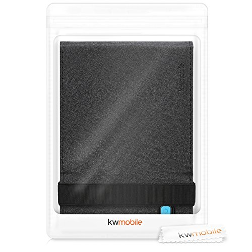 kwmobile Cover Compatible with Kobo Aura Edition 2 - Case with Strap + Stand - Black