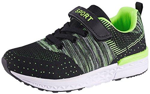 Climbing Lightweight Hiking Boots - SKOEX Boy's Girl's Lightweight Sneakers Strap Sport Running Shoes (Toddler/Little Kid) US Size 11 Green
