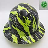 Wet Works Imaging Customized Pyramex Full Brim Hi Vis Green Urban Camo Hard Hat With Ratcheting Suspension